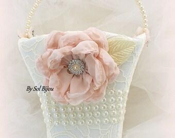 Flower Girl Basket, Ivory, Cream, Blush, Pink, Lace Basket, Vintage Wedding, Elegant Wedding, Pearl Handle, Crystals, Gatsby Wedding