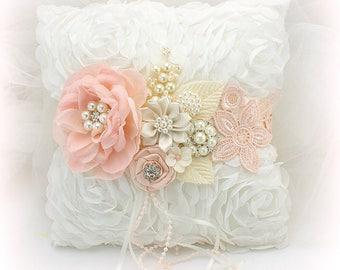 Ring Bearer Pillow,Blush,Ivory,Pink,Wedding Ring Pillow,Off-White,Pillow with Flowers,Vintage Wedding,Chiffon Ring Pillow,Elegant Wedding