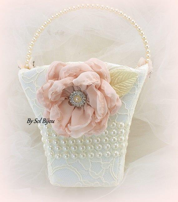 Flower Girl Basket Blush : Flower girl basket ivory cream blush pink lace