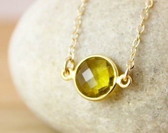 ON SALE Gemstone Connector Necklace - Choose Your Gemstone - 14K Gf, Round Pendant