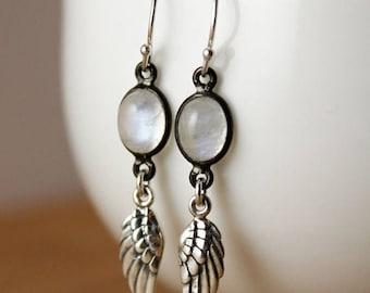 ON SALE Silver Rainbow Moonstone & Angel Wing Earrings - June Birthstone - Charm Earrings