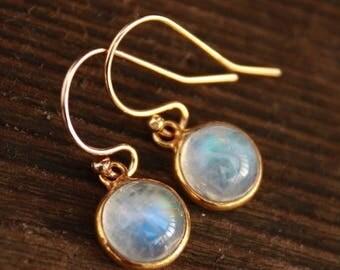 ON SALE Petite Rainbow Moonstone Earrings - 14KT gold fill