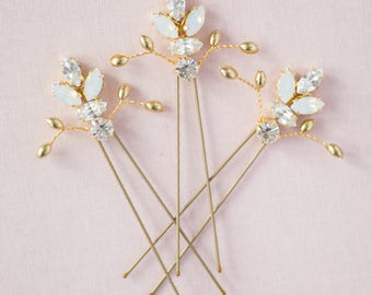 Bridal hair pins / wedding hair pins / bridesmaid hair pins / gold hair pins / swarovski hairpins / Aster