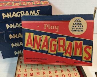 Vintage ANAGRAMS ~ Vintage GAME ~ Vintage LETTERS ~ Anagrams Game ~  Heavy Cardboard Letters ~ Alphabet ~ Vintage Game in Original Box