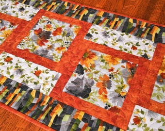 Modern Home Decor, Quilted Table Runner in Bold Graphic Prints with Black Gray Rust and Yellow, Dining Table Decor, Coffee Table Runner