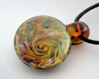 Glass Pendant Burst of Color Necklace Lampwork Hand Blown Glass Art Jewelry Focal Bead by J Hills Glass Art (BC5217A)