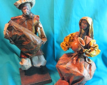 Vintage Paper Mache South American Figurines Man and Women, Hand Crafted Paper Mache Collectible Statues, Souviner Dolls South America
