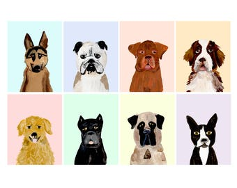 Dog Portrait Postcards - Set of 8