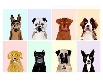 Dog Portrait Postcards - Set of 8