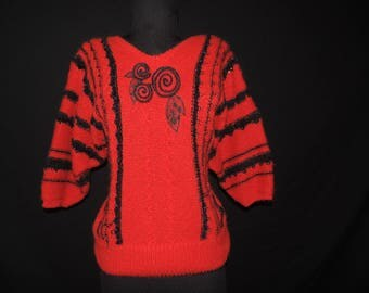80s dolman sleeve sweater red and black floral striped knit pullover medium large