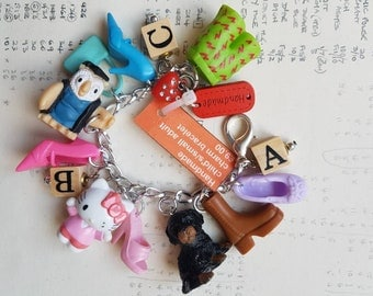 Harajuku Decora - Kawaii - Fairy Kei - ABC charm bracelet - small plastic toys - dolls accessories - rainbow - fun - colourful - child gift