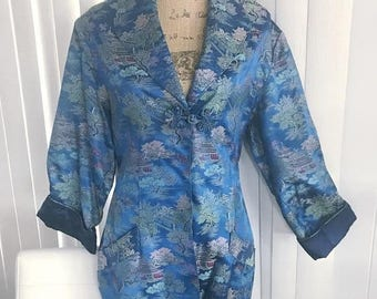 40% OFF Christmas in July Stunning Vintage Mid Century Ladies Asian Fitted Smoking Jacket in Blues -- Size M