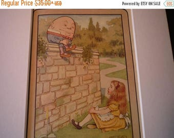 ON SALE Alice and Humpty Dumpty Through the Looking Glass Lewis Carroll - M.L.Kirk - 1905 color book plate color lithograph framable