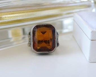 Old Antique Victorian Vintage Sterling Silver Yellow Citrine Color Glass Flower Floral Ring Baby Child Size 3.5