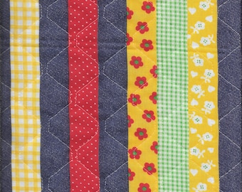 "1-3/8 Yards 44"" Wide Vintage Quilted Cotton Fabric with 2/3 Yards 44"" wide Coordinating cotton fabric Each stripe is 1"" Wide"