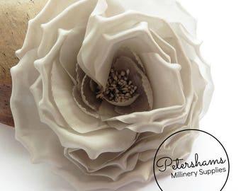 Silk 'Danielle' Large 15cm Rose Millinery Fascinator Flower Hat Mount - Pale Grey