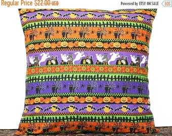 Christmas in July Sale Halloween Pillow Cover Cushion Ghosts Bats Pumpkins Spiders Black Orange Purple Yellow Green Stripes Decorative 18x18