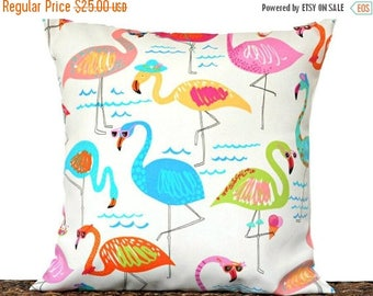 RESERVED for TRACEY Christmas in July Sale Flamingos Pillow Cover Cushion Outdoor Yellow Lime Green Red White Coastal Tropical Summer