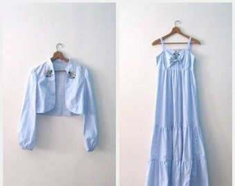 Spring SALE Vintage 70s sundress set / denim blue chambray maxi Festival sundress / Hippie Embroidered sundress with matching jacket