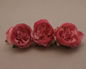 3 Small MAUVE PINK Cabbage Peonies  - Artificial Flower Heads