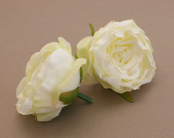 2 Small FRESH CREAM Ruffle Peonies  - Artificial Flower Heads, Silk Flowers