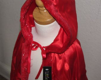 SHIPS TODAY New hooded princess Little Red riding hood Inspired Costume  cape girl toddler 3-6 years