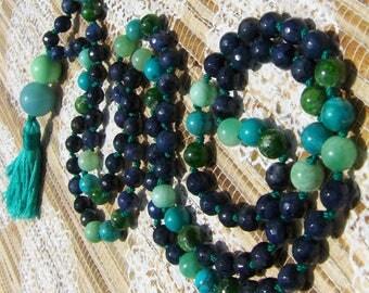 Dumortierite Mala, Amazonite Mala, Chrome Diopside Mala, Turquoise Mala, Blue Mala, Green Mala, Japa Mala, Prayer Beads, Gemstone Mala Beads
