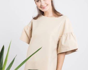 SALE - Short sleeve blouse   Party blouse   Minimalist blouse   LeMuse short sleeve blouse