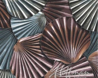 Hoffman - Coastal Drift - Shell Collage - Seashell/Metallic Silver - Fabric by the Yard P7622-546S