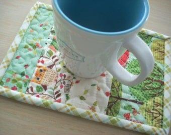 forest friends mug rug - FREE SHIPPING