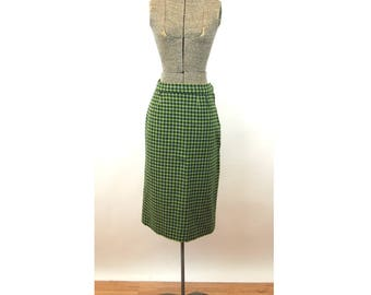 1950s wool skirt plaid checked green tweed  a line skirt Size S