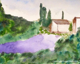 """Landscape Painting, Lavender Field, Provence Farmhouse Art, Country Living Art- Giclee Print of Fine Art Watercolor- """"Lavender Fields"""""""
