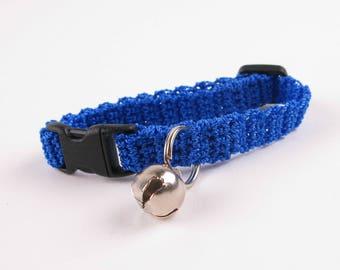 Crochet Cat Collar Royal Blue Kitten Collar