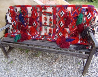 """Huge Amazing 5 ft 5"""" x 2 ft 5 """"  Tribal Saddle Bag for a Camel. Hand Woven. Kilim. Cushions/pillows. 165 x 74 cm"""