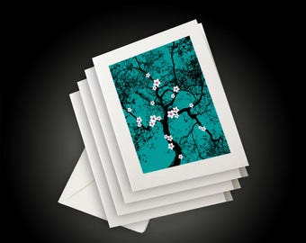 White Cherry Blossoms and Tree on Teal Green Art Background, Asian Inspired Design, Greeting Cards and Envelopes, Set of 4