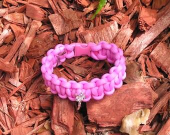 Breast Cancer Support Paracord Bracelet, Women's/Men's, Light Pink, Support Team, J