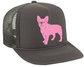 French Bulldog Hat, Frenchie Hat, Dog Baseball Cap Unisex Trucker Hat, Hats for Women Gifts for men Dog Lover Polyester Foam Front Mesh back