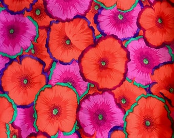 Philip Jacobs OOP, rare, vhtf,  Picotte poppies, fuschia orange, Kaffe Fassett collective floral fabric, by the yard