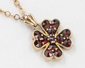 Victorian Necklace, Bohemian Garnet Necklace, Four Leaf Clover Pendant in 14K Gold Filled, Genuine Garnet, Antique Jewelry, Wedding Gift