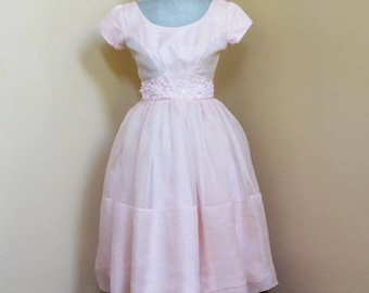 Vintage 1950s Pink Chiffon Short Sleeve Party Dress with Floral Waist