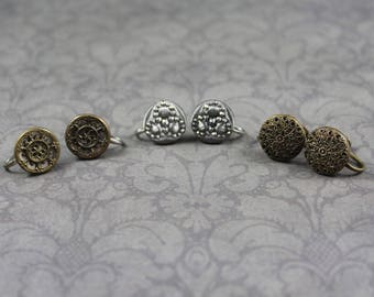 Vintage 3 Pairs of Brass Filigree and Cut Steel Button Screwback Earrings