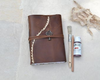 Rustic Brown Leather Journal with Lace and Key