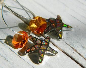Fire Opal Starfish Earrings by Seyshelles