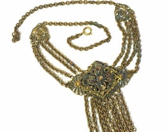 SALE SALE Renaissance Victorian Brass Filigree Bib Swag Festoon Chain Drop Dangle Tassel Pendant Antique Vintage Necklace