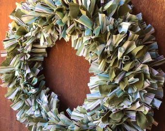 Fabric Scrap Wreath in Green, Teal, White, and Brown Stripe