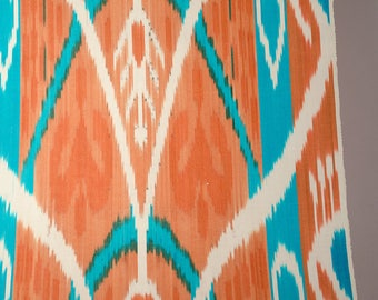 Uzbek ikat fabric by the yards, ikat for pillows and upholstery, orange ikat