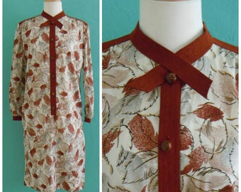 70's print shirt dress //  leaf print dress ~ small medium