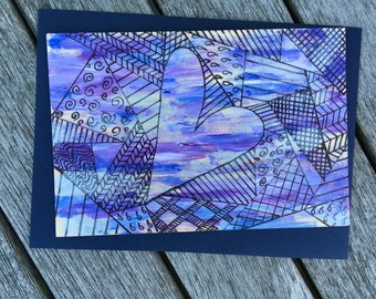 Hand-Painted Wood Greeting Card- heart with purple, blue & black background