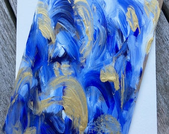 Hand-Painted Wood Greeting Card- white, blue & metallic gold