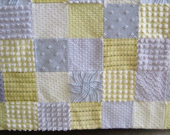 """Ready to Ship Heirloom Quality """"Partly Sunny"""" Gray and Yellow Vintage Chenille Baby / Toddler / Lap Quilt 47"""" x 53"""""""